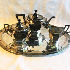 Art Deco Derby Silver Co.Tea Service Set 1669